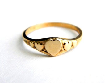 Vintage Gold Heart Sweetheart Ring - Band - Initial Engraveable - Adult Child Girl Baby