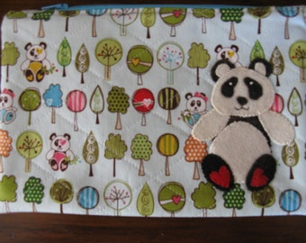 Zipper Bag, Wool Applique Panda, One of a Kind