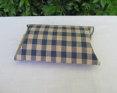 Blue and tan checked fabric covered box