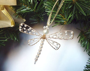 Pearl and Gold Dragonfly Hair Clip, Pin, Brooch or Bouquet Decoration -  Dragonfly Jewelry - agt