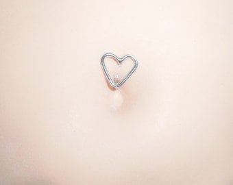 Heart Belly Button Ring, Sterling Silver 14,16, 18, Or 20 Gauge, Navel Jewelry, Heart Belly Button Rings