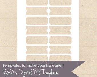 Tickets Template, Collage Sheet, Two Styles, PNG file, Instant Download