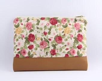 SALE30% Clutch purse, Simple Clutch Bag,zakka clutch  purse,Japan fabric  and natural Tan Leather/ zippered clutch