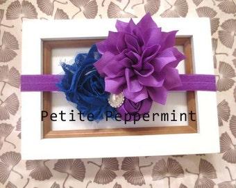 Purple Baby Headband, Purple Flower Headband, Baby Hair Bow, Infant Headband, Toddler Headband, Baby Head Band, Photo Prop