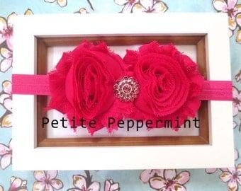 Hot Pink Baby headband, Shabby Baby Flower Headband, Baby Hair Bow, Infant Headband, Toddler Headband, Little Girl Headband, Baby Photo Prop