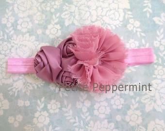 Baby Flower Headband - Baby Headband - Dusty Rose Baby Headband,Baby Girl Headband,Toddler headband,Girl Headband,Baby Head Band
