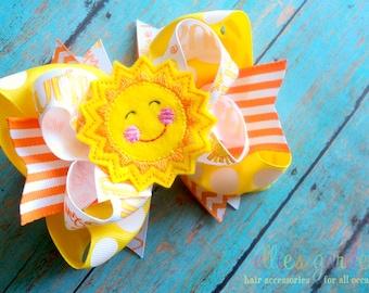 Smiling Sunshine Boutique Style Hair Bow Yellow Orange You are My Sunshine