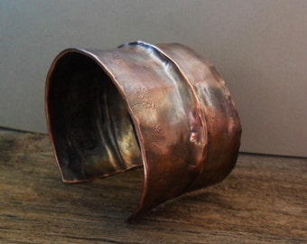 Fold Formed Copper Brass Cuff Bracelet Men Women