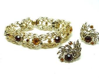 Vintage Coro Bracelet & Earrings Demi Set - Golden Amber Rhinestones