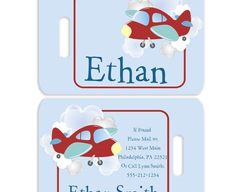 High Flyer Airplane Personalized Bag or Luggage Tag, Custom Personalized Luggage Tags, Monogrammed Bag Tags, Custom Monogrammed Bag Tags
