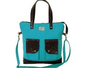 Turquoise Canvas & Brown Leather Accents Tote. Zipper Tote Bag. Handmade Shoulder Bag. Work Handbag. Rio Tote. FREE SHIPPING Worldwide