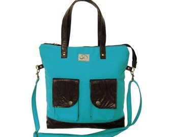 SALE Turquoise Canvas & Brown Leather Accents Tote. Zipper Tote Bag. Handmade Shoulder Bag. Work Handbag. Rio Tote.