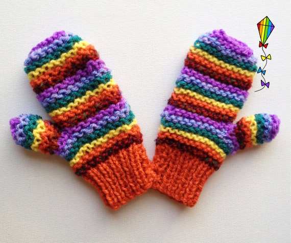 Autumn Rainbow Pixie Mittens - Children's Mitts / Childs' Glove / Kids' Mittens