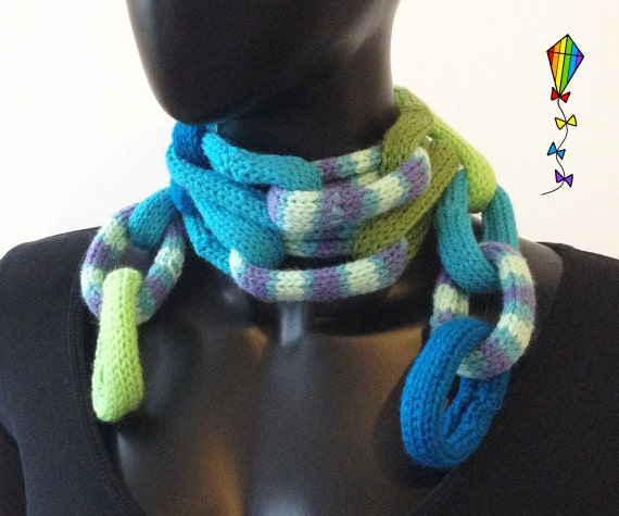 Spearmint Chain Scarf for Kids - Blue and Green Children's Scarf