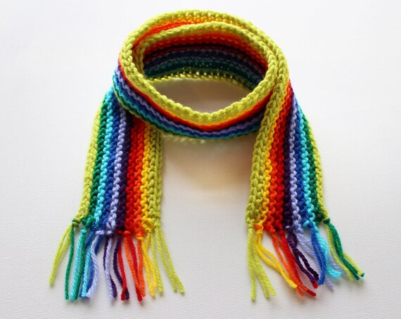 Lime Rainbow Pixie Scarf - Rainbow Childrens Scarf - Colourful Child's Winter Scarf
