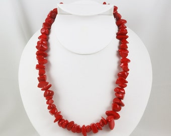 Cherry Red Necklace, Silver Tone, Dyed Stone Irregular Chips, Signed Cg