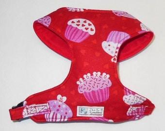 Valentines Cupcake Comfort Soft Dog Hasrness. - Made to Order-