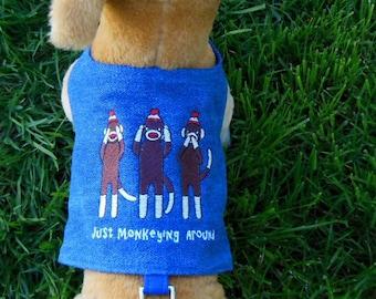 Sock Monkey Embroidery Harness-Vest.