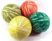 Wool Dryer Balls - Citrus Crush Swirl - Set of 4 Eco Friendly - Can Be Scented or Unscented