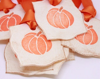 Halloween Gift Tags (Double Layered) - Pumpkin Treat Bag Tags - Fall Gift Tags - Party Favors - Treat Bag Tags  (Set of 8)