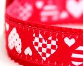 Hearts Dog Collar, Valentine's Pet Collar, Red Love Collar