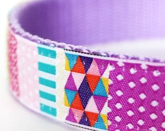 Patchwork Dog Collar, Adjustable Dog Collar, Pink, Colorful Girl Pet Collar