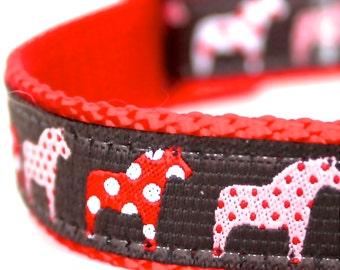 Red Polka Dot Dala Horse Dog Collar / Adjustable Dog Collar / Ribbon Dog Collar