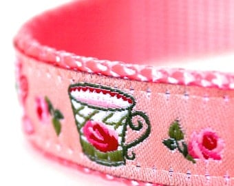 Cottage Teacups Dog Collar, Adjustable Ribbon Dog Collar, Shabby and Chic, Cottage Rosebuds