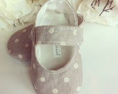 Baby Girl Shoes, Linen Grey and Cream Polka Dot Mary Janes - Soft Sole Baby Booties - Toddler Girl