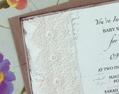Lace Shabby Baby Shower Invitation - Rustic Cream and Kraft