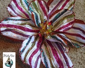LARGE Rainbow Sparkly Hair Flower Drag Burlesque
