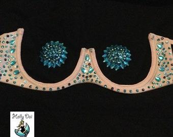 Custom rhinestone underbust underbra Burlesque