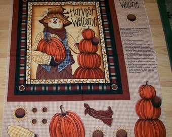 A Wonderful Scarecrow Harvest Welcome Fall Fabric Panel Free US Shipping