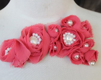 Cute beaded  applique  with chiffon flowers  1 pieces listing