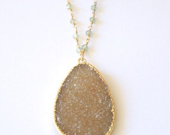 Sparkling Sand Druzy and Green Prehnite Necklace