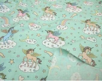 """Fancy Unicorn  Rainbow Sky Cloud - Fairytale Japanese Kawaii  Fabric Lolita  -   Mint Green  -50cm or 19"""" length"""