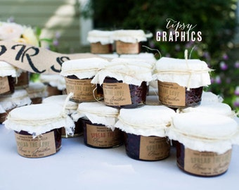 Custom Jam Label Sticker. Homemade Jam Wedding Favor.  Simple Heart. Spread the Love Jam Packed with Love Jar Label Design Printable file.