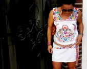 Sale Mexican Bohemian Dress Hand Embroidered Womans Size S/M/L
