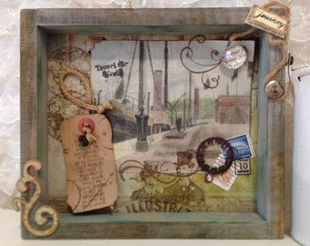 Shadow Box The Vintage Steampunk Travelers with Reclaimed Tennessee Barn Wood Vintage Findings