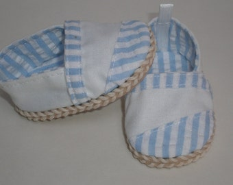 BLUE & WHITE ESPADRILLES Toms 18 inch doll clothes