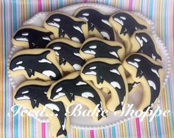 Orca hand decorated sugar cookies - 1 dozen killer whales