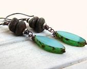 Caribbean . . Czech Glass, Antique Copper Dangle Earrings