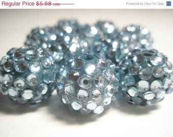 CLOSEOUT CLEARANCE Sale 16 mm - Basketball Wives Inspired- NEW -90 Rhinestone Resin Beads/Balls - Light Blue
