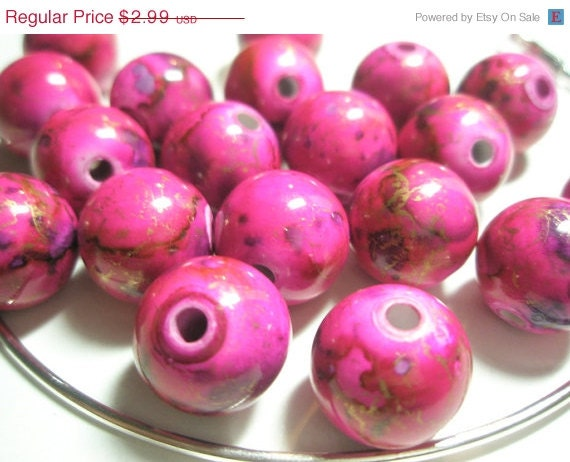 CLEARANCE SALE 16 mm - Basketball Wives Inspired HOT Pink Splash Spacers/Beads - 12 pieces