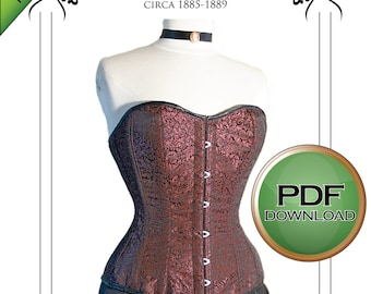 Corset Pattern. Extra large / Plus sized. Drafted for tight lacing of curvy figures. Excellent fit.  instant Pdf download