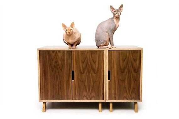 "Mid Century Modern Cat Litter Box Furniture | LARGE Cat Litter Box Cover | Dog & Cat House | Walnut Side Table | ""Modular Cabinet Set"""