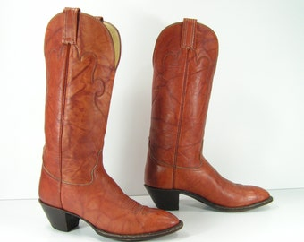 cowboy boots womens 6.5 B brown western cowgirl hondo vintage leather ladies