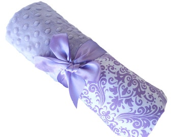 Stroller Size Baby Blanket Lavender and White Damask Cotton with Lavender Minky Personalization Included
