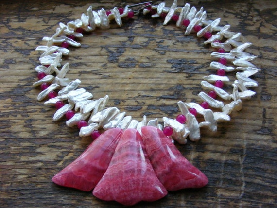 Rhodochrosite Double Strand Necklace with Biwa Pearls and Fuchsia Jade.