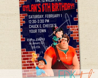 Wreck It Ralph Invitation Vanellope Fix It Felix Birthday Invite